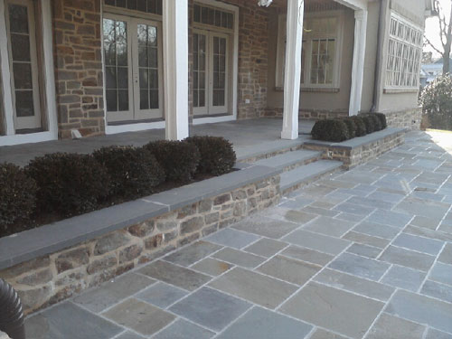 Blue Stone Patio, Steps, Deck And Stone Facing